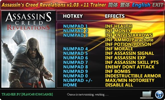 644848 Assassins Creed: Revelations 1.03 +11 Trainer