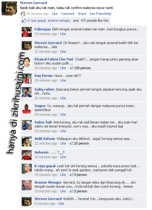stevengerrard tak jadi turun malaysia, malaysia vs arsenal, fb status kelakar steven gerrard